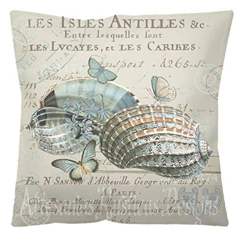 Tr73ans Franse kussensloop 100 katoen canvas jute blauwe schelpen vlinders op antieke Franse tekst met stempels gooien kussensloop cover Euro Sham