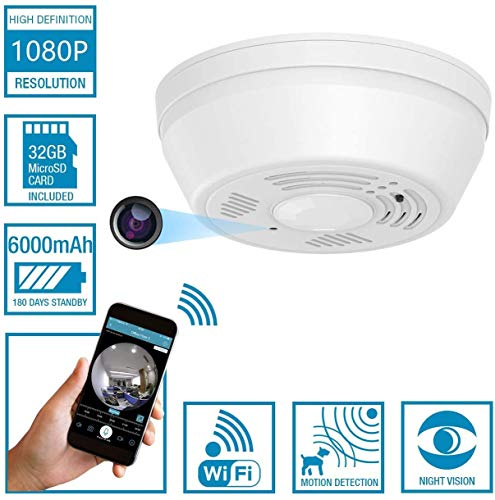 Dummy Smoke Detector 32Gb WiFi Motion Detection Hidden Surveillance Camera NuCam SD w. 180 Days Standby Battery Power & Double Sided Stickers Night Vision Top View Nanny Covert Camera Home Security