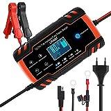 URAQT Chargeur Batterie, Chargeur de Batterie Voitures Intelligent Portable LCD Écran avec Protections Multiples Type de réparation pour Batterie de Voiture Moto (Rouge)