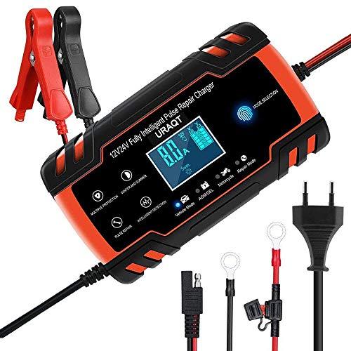URAQT Caricabatteria Auto, 12V/24V 8A Multi Protezioni Caricatore Intelligente Automatico, 4 in 1 Ricarica Rapida Impermeabile e Indicatore di Avanzamento della Ricarica a Touch Screen LED (Rosso)