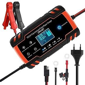 URAQT Cargador de Baterias de Coches, 8A 12V/24V Mantenimiento Automático e Inteligente con Múltiples Protecciones, LCD y Botón de la Pantalla Táctil para Auto, Moto, ATVs, RVs, Barco (Actualización)