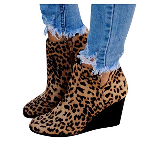 Baiggooswt Women's Fashion Girls Leopard Wedges Ankle Zipper Pointed Toe Flock Short Boots Heightening Shoes(Brown,US:8)