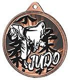 Trophy Monster Judo - Juego de 10 medallas y Lazos para Clubes y asociaciones (10 Unidades, Hecho de Metal con impresión de Textura 3D, 55 mm), Color Dorado, Plateado o Bronce, 10 Bronce, 55 mm