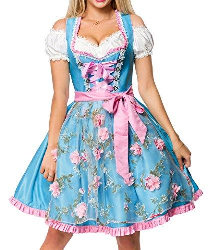 Dirndl Kleid Kostüm mit Herzausschnitt und Schnürung und Schürze aus glänzendem Stoff und Spitze Oktoberfest Dirndl blau/pink L