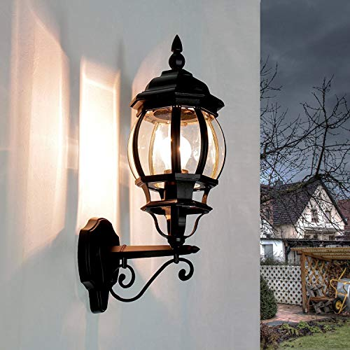 Rustikale Wandleuchte in schwarz inkl. 1x 12W E27 LED Wandlampe aus Aluminium Glas für Garten Terrasse Weg Lampen Leuchte außen