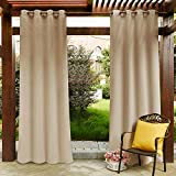 PONY DANCE Outdoor Curtains for Patio Waterproof - Pergola Porch Blackout Curtains with Grommets Heavy-Duty Thermal Insulated, 52 Wide by 84 Long, Biscotti Beige, Sold as 1 Panel