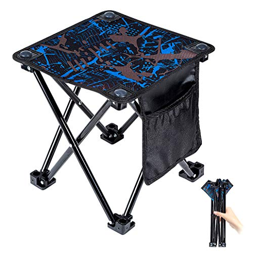 Mini Portable Folding StoolOutdoor Folding Chair for CampingFishingTravelHikingGardenBeach QuicklyFold Chair Oxford Cloth with Carry Bag Camouflage 115