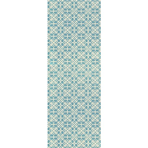 "RUGGABLE Washable Indoor/Outdoor Stain Resistant 2.5x7 (30""x84"") Runner Rug 2pc Set (Cover and Pad) Floral Tiles Aqua Blue and White"