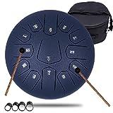 Tambour de langue en acier 13 notes 30,5 cm 30 cm – Instrument de percussion accordé – Ensemble de batterie avec sac, livre de musique, maillets, médiators