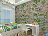 WOW Interiors PVC Foil Brick and Leaf Design Peel and Stick Self Adhesive Easily Removable Background Eco Wallpaper (Multicolour , 200 X 45 cm)