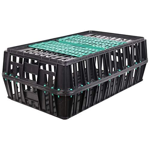 VOSS.farming Geflügeltransportkiste 85 x 50 x 31 cm mit 2 Türen in schwarz mit grünen Türen