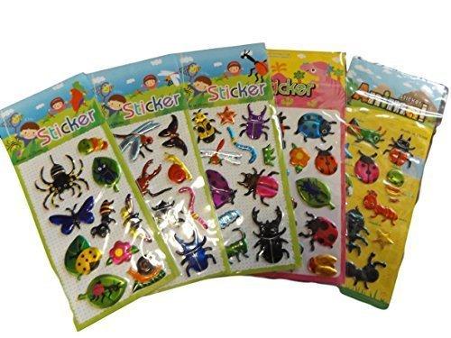 5 x Petites Feuilles de Insecte, Coccinelle, Insectes Autocollants pour Enfants garçons, Loisirs créatifs, scrapbooks, Fabrication Cartes, Cadeau Sacs de fête