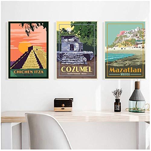 zhaoyangeng Dordogne Valley Travel Art Print minimalistische kaartenposter op linnen voor wooncultuur in de woonkamer - 30X40Cmx3 niet ingelijst