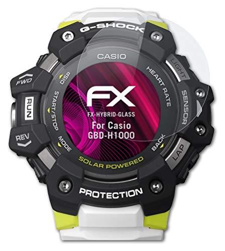 atFoliX Glasfolie kompatibel mit Casio GBD-H1000 Panzerfolie, 9H Hybrid-Glass FX Schutzpanzer Folie