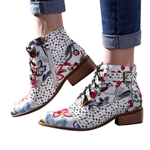 MIRRAY Tinte Malerei Blumenmuster Kuh Leder Spleißen Lace-Up Stitching Ankle Boots