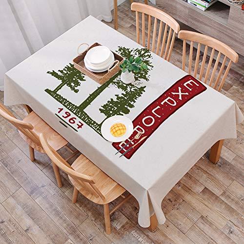 Mantel Antimanchas Rectangular Impermeable,Explore, siluetas de arboles coniferos con arreglo de bocetos Arreglo vin,Manteles Mesa Decorativo para Hogar Comedor del Cocina,(140 x 200 cm/55*78 pulgada)