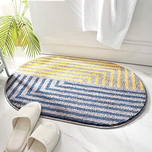 バスルームフットクリーニングマット幾何学模様エントランスマット洗濯機で洗えるバスルームフットクリーニングマットTPRラテックス滑り止めマット(楕円形)