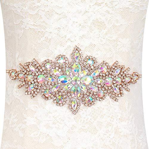 Pardecor Bridal Belt Rhinestone Applique Wedding Sash Crystal Trim Rose Gold Belt Wedding Dress Rhinestone Belt Bridesmaid Sash Belts for Dress