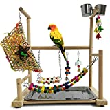 【NATURAL WOOD & DURABLE & HIGH QUALITY】The parrot game rack is made of natural wood and made by hand. It is strong and environmentally friendly and safe to chew.The surface of the perch is polished so that it won't hurt your lovely pet's feet.And all...