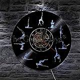 Reloj de Pared diseño Moderno Reloj de Pared de Vinilo Vegano Deporte Reloj de Pared Reloj de Tiempo Reloj decoración del hogar Amante del Yoga Regalo