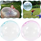 LotCow 2 Pack Giant Balloons Water-Filled Bubble Ball Balloon 24-Inch Big Inflatable Balls Soft Latex Balloons for Outdoor Beach Pool Party Decorations Toys (Blue, Pink)
