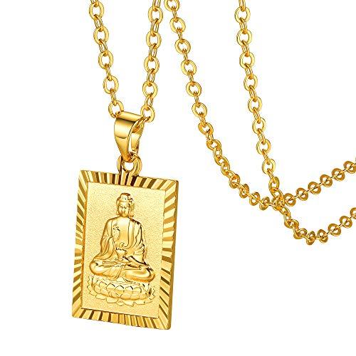 GoldChic Jewelry Sitting Buddha Necklace, Gold Tathagata Pendant Shakyamuni Buddha Tag, Buddhist Talisman Jewellery Gift For Men Women