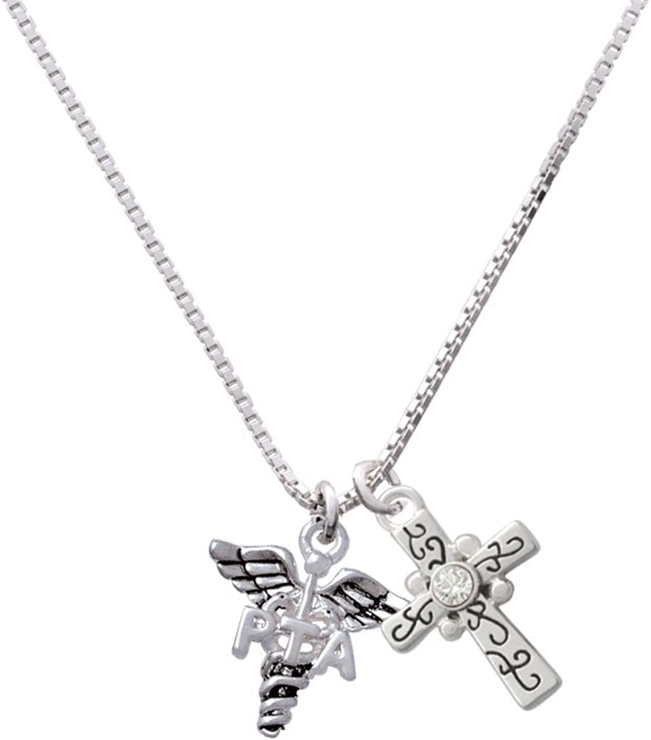 18+2 Delight Jewelry Physical Therapy Caduceus Scroll Cross Necklace