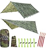 Gold Armour Rainfly Tarp Hammock, Premium 14.7ft/12ft/10ft/8ft Rain Fly Cover, Waterproof Ultralight Camping Shelter Canopy, Survival Equipment Gear Camping Tent Accessories (Camouflage 12ft x 10ft)