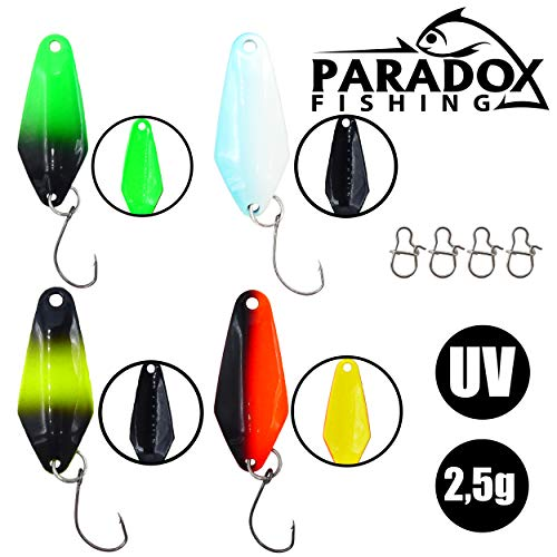 Paradox Fishing Forellen Spoon Set 4 Spoons 2,5g mit 4 Snaps UV Forellenköder Set zum Forellen Angeln Forellen Blinker Forellen Köder Forellen Set Spoon Forelle - Spoons Forelle
