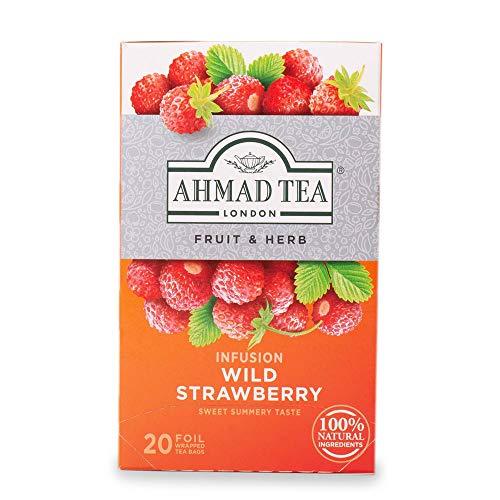 Ahmad Tea Wild Strawberry Früchtetee mit Erdbeergeschmack, Erdbeere, 2 g (20 Teebeutel)