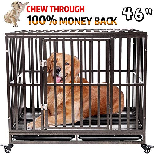 petgroomingtable Heavy Duty Dog Crate Cage Kennel Playpen Large Strong Metal for Large Dogs Cats with Two Prevent Escape Lock and Four Lockable Wheels Basic Crates