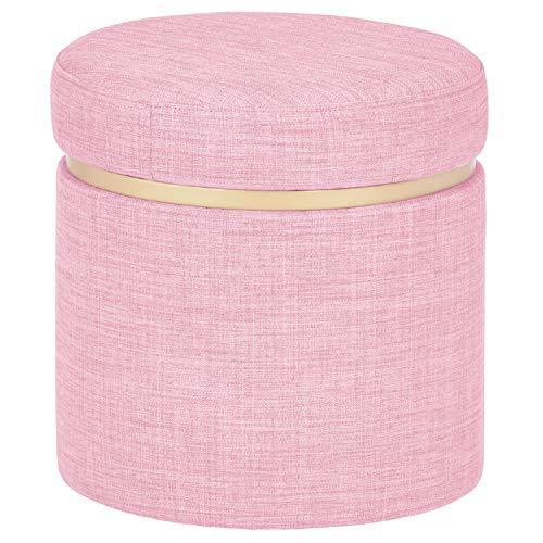 Rivet Asher Modern Storage Ottoman 1575quotW Fabric Pink