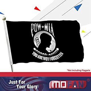 MOFAN POW MIA Flag Polyester Nicely Stitched and Vivid Bright Color You are not Forgotten Prisoner of War Flag Banner with 2 Solid Brass Grommets 3x5Ft Indoor/Outdoor Decoration