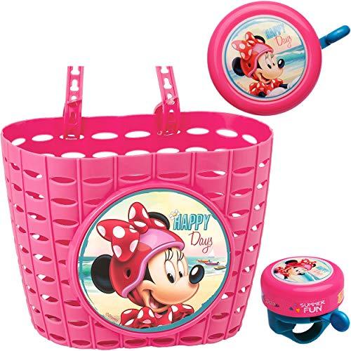 alles-meine.de GmbH 2 TLG. Set: Fahrradklingel + Fahrradkorb - Disney - Minnie Mouse - UNIVERSAL Ding Dong - 2 Klang - Klingel für das Fahrrad / Jungen Mädchen - kleine Lenkerkli..
