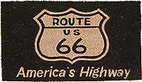秋月貿易 屋外用ドアマット Route 66 Black W70×D40×H1.4cm Coir Doormat レクト CR-2969