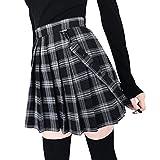 Yying Minifalda Femenina para niñas Harajuku Cintura Alta Patinadora Plisada Falda Corta de Tenis Falda de Costura Elegante Viento Cosplay Falda a Cuadros Falda Escolar Uniforme