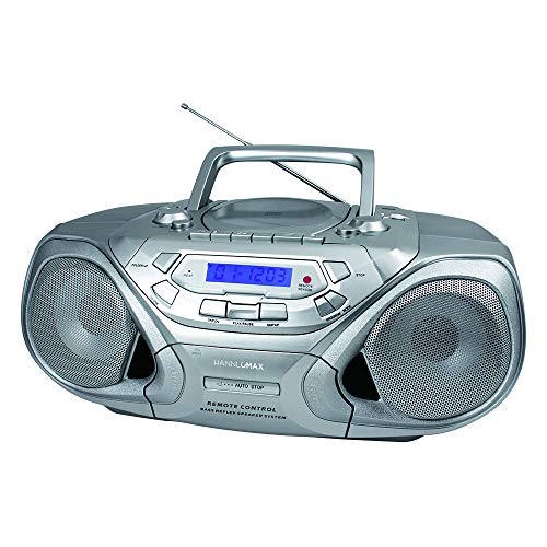 HANNLOMAX HX-313CD Portable CD/MP3 Player, Cassette Recorder, AM/FM Radio, USB Port for MP3 Playback, Remote Control, Aux-in, LCD Display, AC/DC Power Source, High Power Output (Silver)