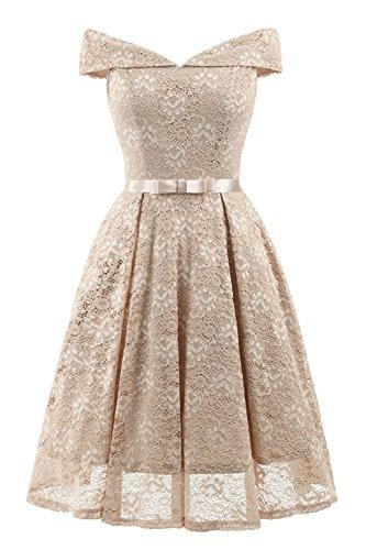 XG-BH Elegant Spitzenkleid Knielang V-Ausschnitt Brautjungfernkleid Cocktailkleid Abendkleider,Beige,XXL