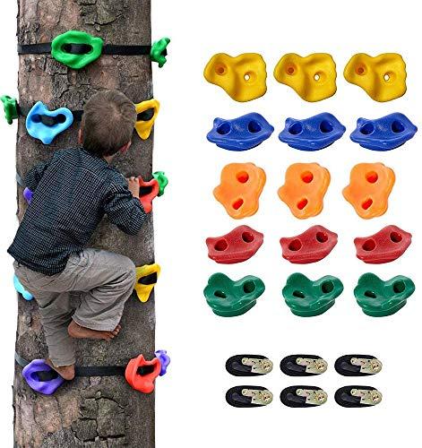 PAKASEPT Klettersteine Kinder Klettergriffe für Spielturm Kletterwände, Bunt für Eine Kletterfläche, Halten Sie Bis zu 230 kg Inkl 15 Stück und 6 Ratschengurte für Kinderkletterer