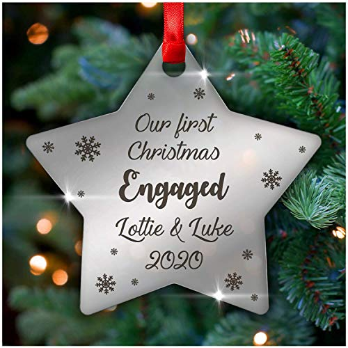 PERSONALISED Our First Christmas Engaged Decoration Ornament Gifts - Mirror Acrylic Christmas Tree Decorations - Keepsake 1st Christmas Presents - Christmas Gifts for Engaged Couple Fiance Fiancee