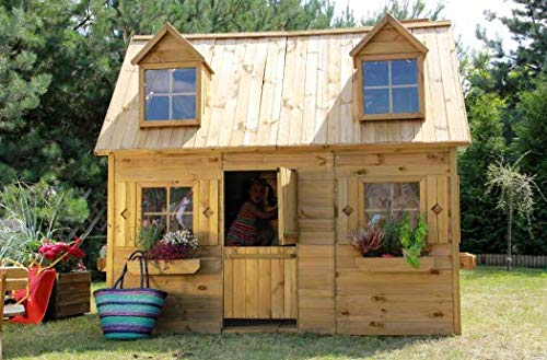 Spielhaus Kinderspielhaus Holz-Gartenhaus Spielhütte aus Holz für Kinder - (3995)