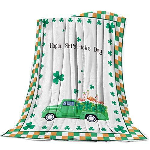 AEMAPE Manta de Tiro, Manta Ultra Suave, Ligera y acogedora para sofá Cama - Happy St. Patrick's Day Shamrock Truck Flamingo Buffalo Plaid 60 'x 50'