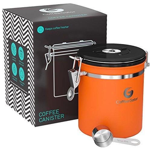 Coffee Gator-Edelstahl-Kaffeedose – Hält gemahlener Kaffee und Bohnen länger frisch – Behälter mit Datumsverfolgung, CO2-Freigabeventil und Messlöffel - Mittel - Orange