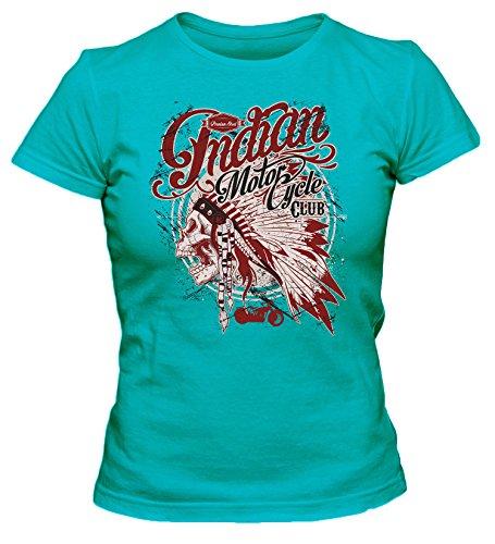 Indian Motorcycle-Club Cooles Party Damen T-Shirt_türkis_L