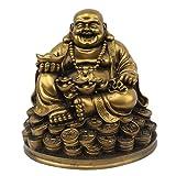 Petrichor Fengshui Riendo Buda Sentado en Suerte Dinero Monedas llevando Lingote de Oro para Buena S...