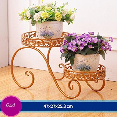 Escalier en fleurs de fer Porte-pot à fleurs Salon extérieur Balcon Porte-fleurs (47 * 27 * 25.3cm) (Couleur : Or)