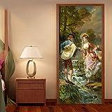 WENQI Mural De La Puerta 3D - Río De Personaje De Pintura Al Óleo 77X200 Cm Papel Pintado De La Puerta Del Cartel De La Puerta Autoadhesiva Diy Mural Autoadhesivo Impermeable - Sala De Estar Para Niño