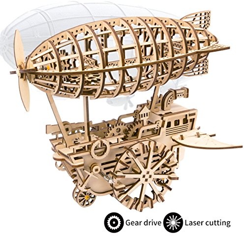 ROKR Laser Cut Puzzle de Madera con Engranaje 3D Robotic Toys Kits Modelo de Adulto para Construir niños o Adultos (Air Vehicle)