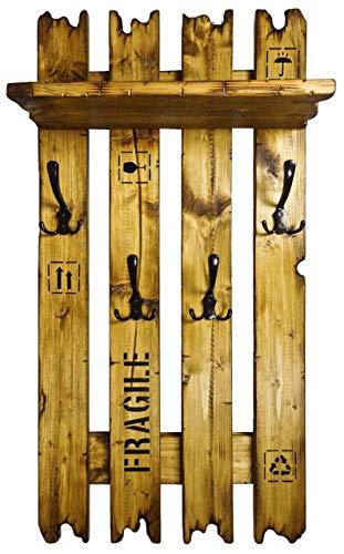 uPCyCLiNG ViNTaGe Holz Garderobe mit 4x3 Metallhaken FaRBe : eiche rustikal Frachtkisten Stil Palette aus Echtholz/Massivholz (alternativ: Gaderobe, Gardrobe)