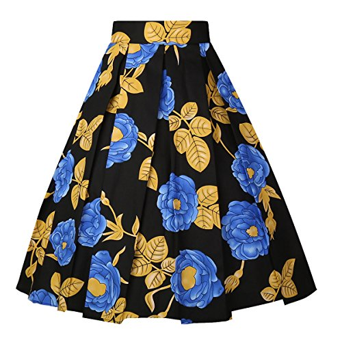 OBBUE Dresstore Vintage Pleated Skirt Floral A-line Printed Midi Skirts with Pockets Gold Leaf-Black-XX-L